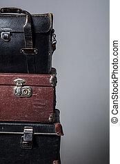 viejo, Pila, Plano de fondo, maletas