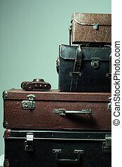 viejo, andrajoso, maletas, cámara, Plano de fondo, Pila