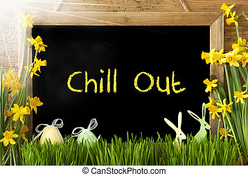 Sunny Narcissus, Easter Egg, Bunny, Text Chill Out -...