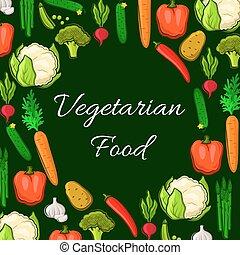 Vegetarian food vegetables vector poster - Farm vegetables...