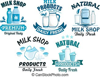 Milk and dairy products vector isolated icons - Dairy...
