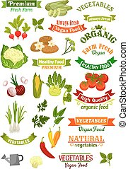 Vegetables vector isolated icons vegan ribbons set - Vegan...