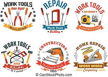 Repair work tools vector icons set - Repair, construction,...