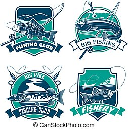 Fishing club vector icons and emblems set - Fishing icons...