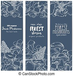 Forest mushrooms vector sketch banners - Mushroom shop...