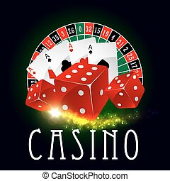Casino wheel of fortune, poker cards vector poster - Casino...