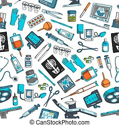 Medical items tools seamless vector pattern
