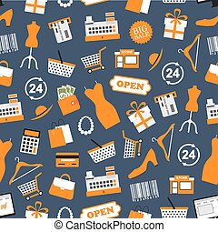 Shopping and retail vector seamless pattern - Shopping...
