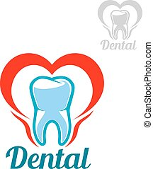 Dental vector isolated tooth icon - Dentistry white tooth...