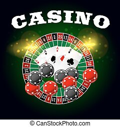 Casino vector poster of roulette and poker cards - Wheel of...