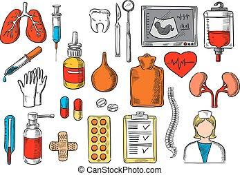 Medical items and medicines vector sketch icons - Medicines...