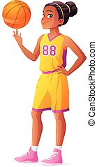 Vector young African basketball player girl spinning ball on...