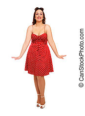Plus-size pin-up - Attractive happy smiling plus-size woman...