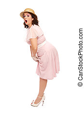 Plus-size pin-up - Attractive plus-size woman in vintage...