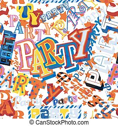 Party seamless tile - Vector seamless tile of the word Party...