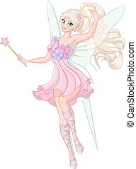 Beautiful fairy with magic wand. Vector illustration isolated on