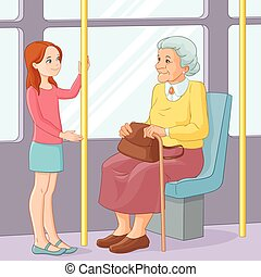 Young girl offering a seat to an old lady in public transport. Vector illustration.