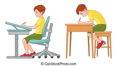 Student boy writing. Incorrect and correct back sitting position. Vector illustration isolated on white background.