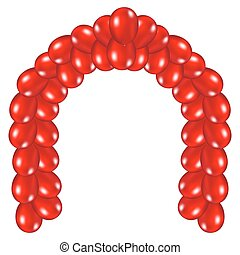 Arch of red balloons - on white background vector...