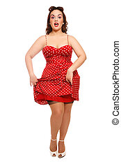 Pin-up - Attractive plus-size woman in vintage dress and...
