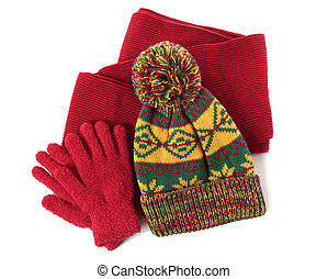 Winter hat, scarf and gloves