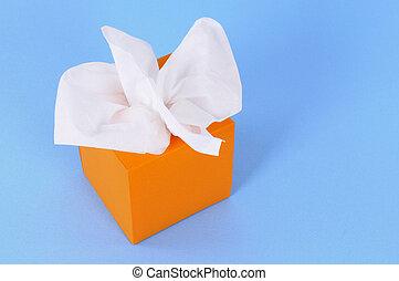 Orange tissue box - Kleenex style tissues in blank orange...