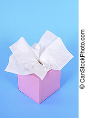 Pink tissue box - Kleenex style tissues in blank box on a...
