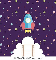 Space Exploration Cartoon Style Vector Concept - Space...