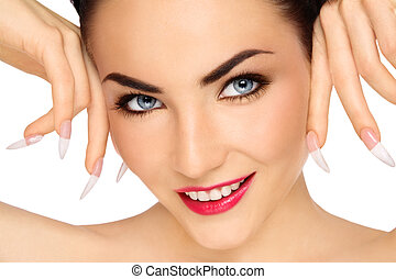 Long nails - Close-up portrait of young beautiful smiling...