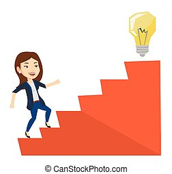 Business woman walking upstairs to the idea bulb. -...