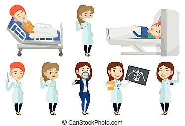 Vector set of doctor characters and patients. - Caucasian...