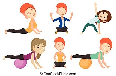 Vector set of sport characters. - Woman exercising with...
