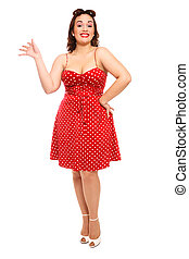 Pin-up - Attractive happy smiling plus-size woman in vintage...