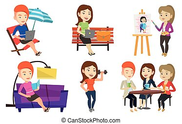 Vector set of people during leisure activity. - Business...