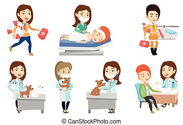 Vector set of doctor characters and patients. - Veterinarian...