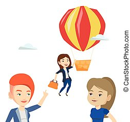 Business woman hanging on balloon. - Two young employees...