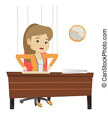 Business woman marionette on ropes working. - Businesswoman...