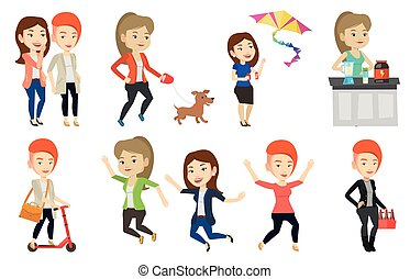 Vector set of people during leisure activity. - Group of...