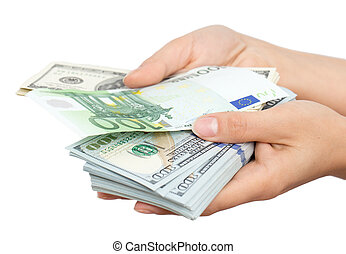 Euros and Dollars in hand on a white background