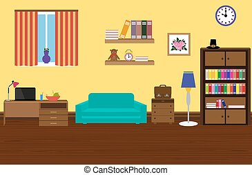 Interior modern and stylish room with a sofa,  wardrobe,  desk