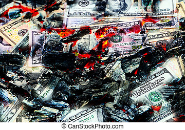 global financial crisis - red-hot coal, and the flames with...