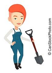 Farmer with shovel vector illustration. - An adult farmer...