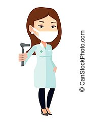 Ear nose throat doctor vector illustration. - Caucasian ear...