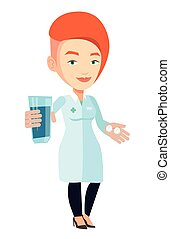 Pharmacist giving pills and glass of water. - Caucasian...