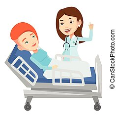Doctor visiting patient vector illustration. - Young doctor...