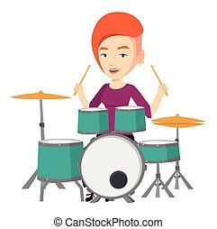 Woman playing on drum kit vector illustration. - Young...