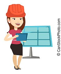 Female worker of solar power plant. - Woman working on...
