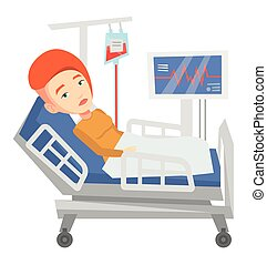 Woman lying in hospital bed vector illustration. - Young...