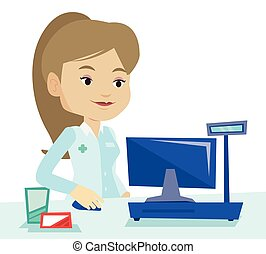 Pharmacist at counter with cash box. - Pharmacist in medical...