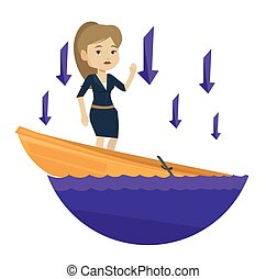 Business woman standing in sinking boat. - Young caucasian...
